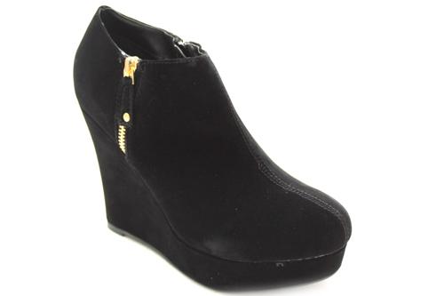 chaussures compens es avec fermeture clair dor e femmes noir. Black Bedroom Furniture Sets. Home Design Ideas
