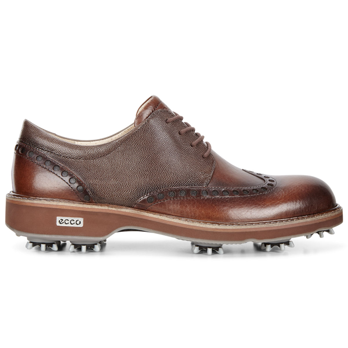 Ecco 2017 Mens Classic Lux Leather Spiked Brogue Golf Shoes
