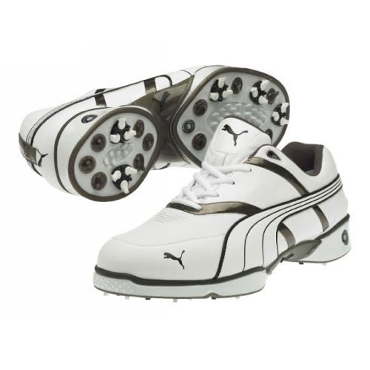Puma-Men-039-s-Harpia-Argyle-Golf-Shoes-White-Metallic