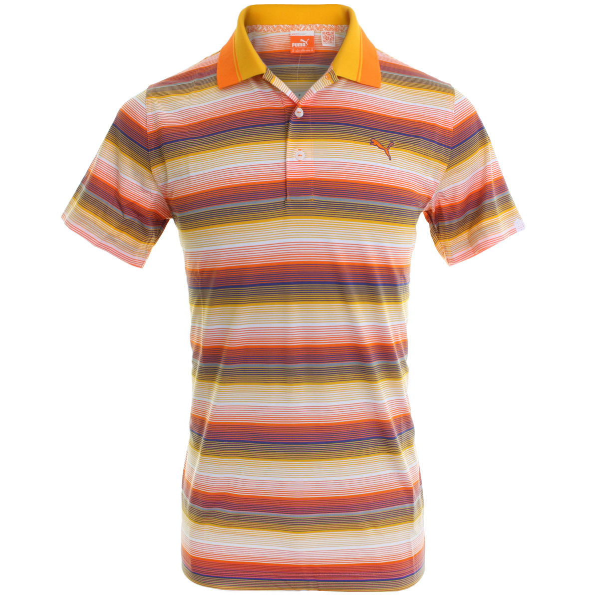 Puma golf 2014 mens road map stripe polo shirt ebay for Mens puma golf shirts