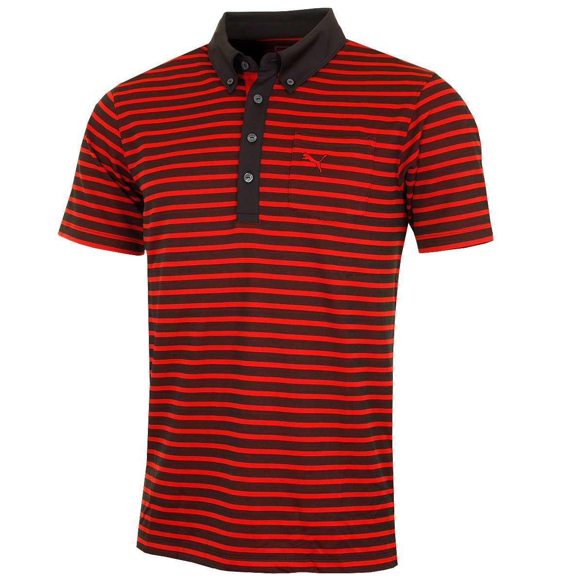 Puma golf mens stripe pocket polo shirt 568316 drycell for Mens puma golf shirts