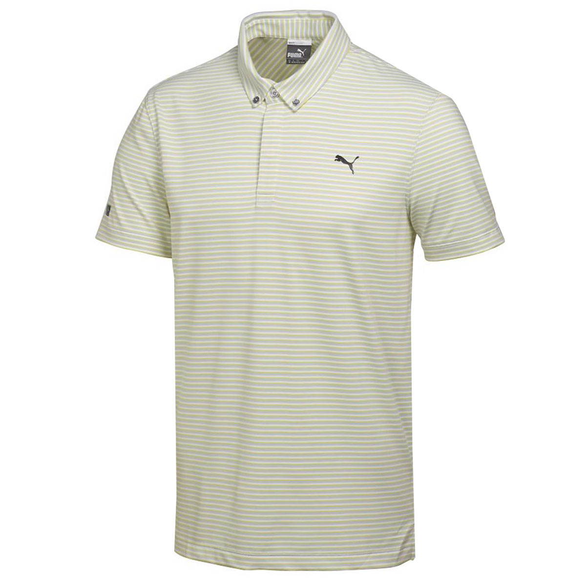 Puma golf mens lux yd stripe polo shirt ebay for Mens puma golf shirts