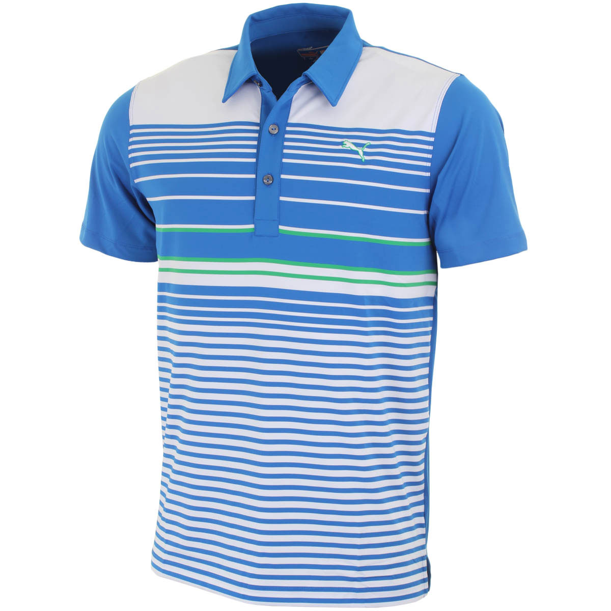 Puma golf mens yd stripe polo shirt ebay for Mens puma golf shirts