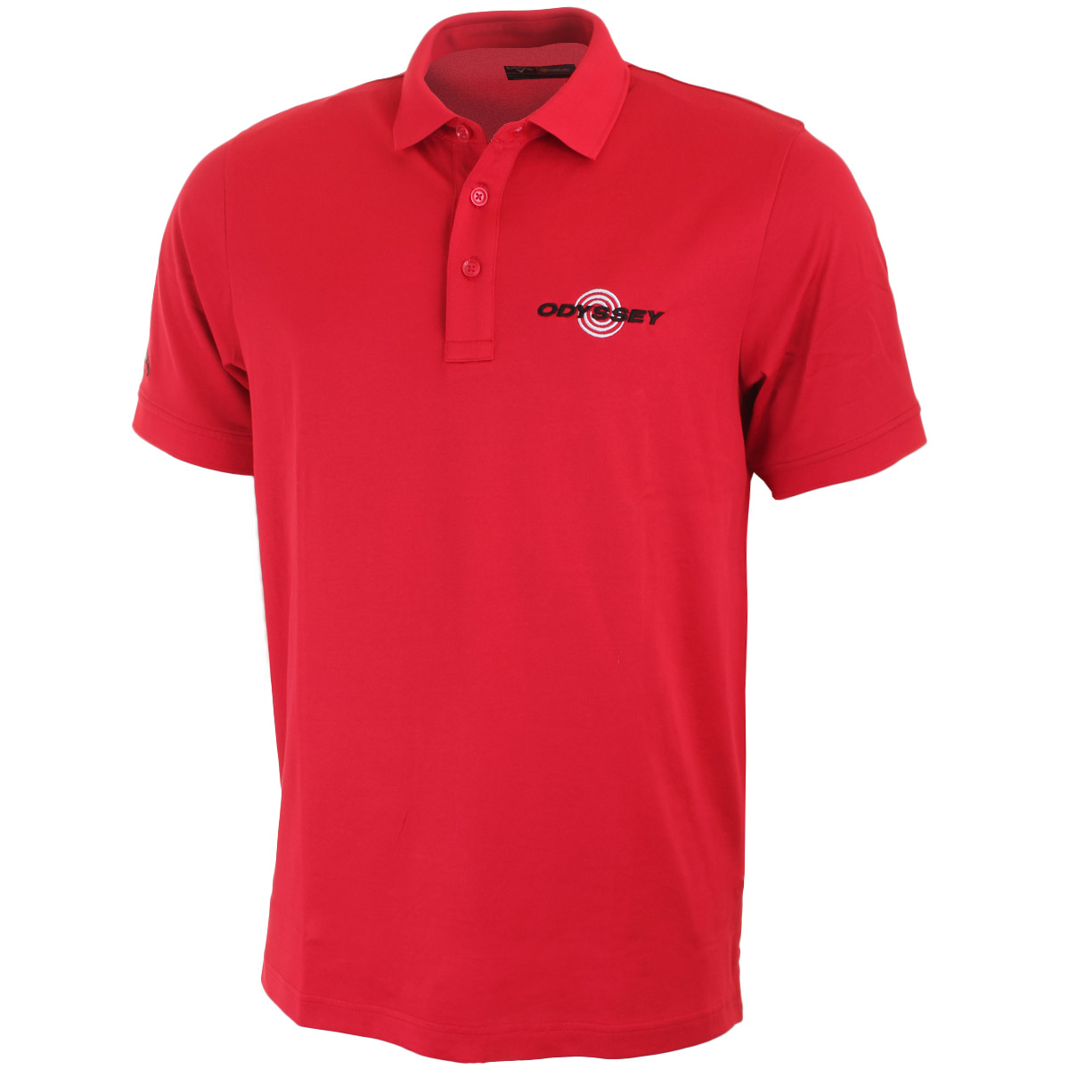 Callaway golf mens solid cotton odyssey tour logo polo shirt for Cotton polo shirts with logo