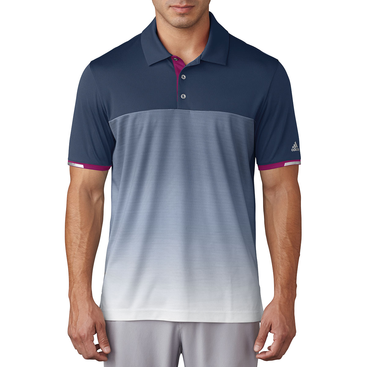 Adidas golf 2017 mens climachill gradient stripe polo for Mens golf polo shirts