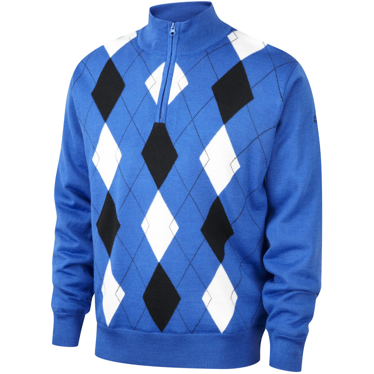 53% OFF RRP Cypress Point Mens Jacquard 1/2 Zip Lined Windproof Golf Sweater