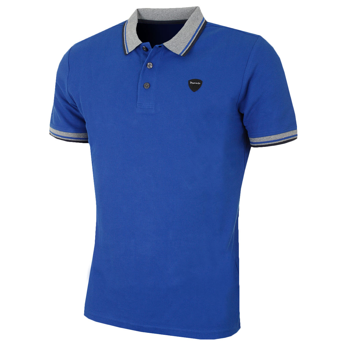 Dwyers co mens knitted collar and cuffs golf polo shirt for Knitted polo shirt mens