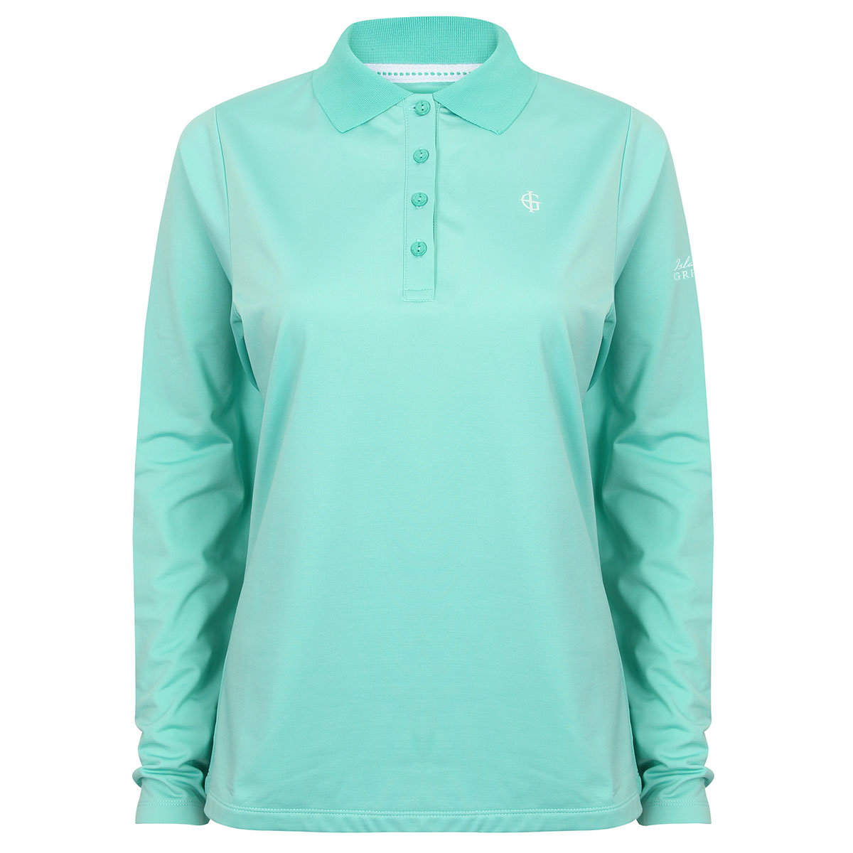 32 off rrp island green 2017 ladies long sleeve 4 button for Long sleeve golf polo shirts