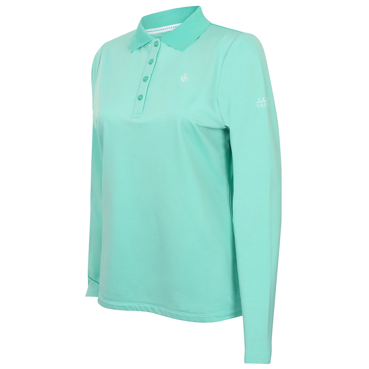 Island green 2017 ladies long sleeve 4 button branded golf for Long sleeve polo golf shirts