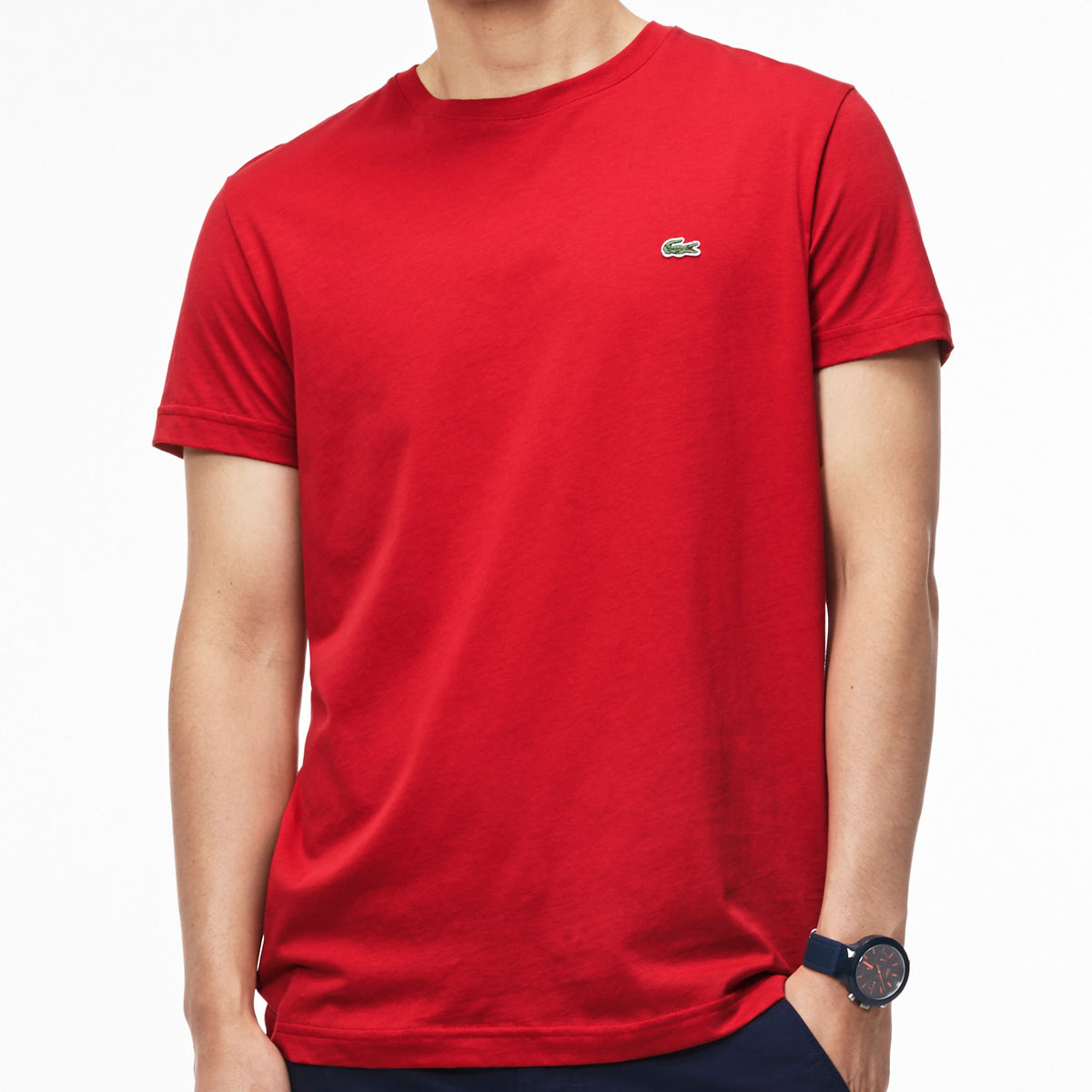Lacoste 2016 mens short sleeve crew neck t shirt pima for Pima cotton tee shirts