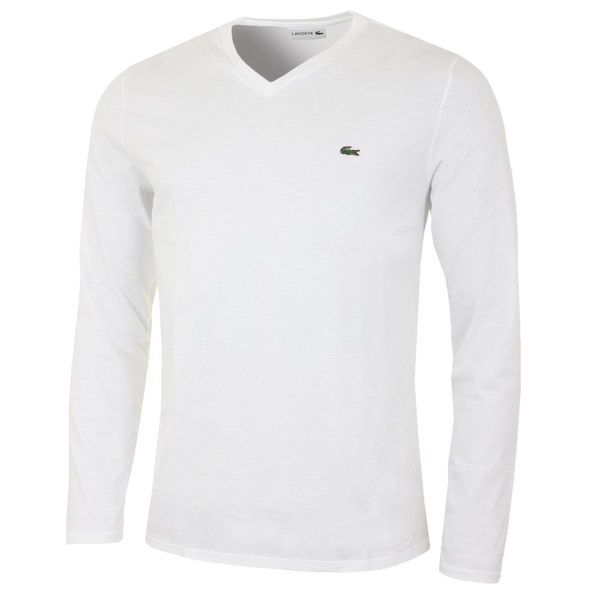 Lacoste 2017 mens th6711 long sleeve v neck tee t shirt ebay for Long sleeve v neck t shirt mens