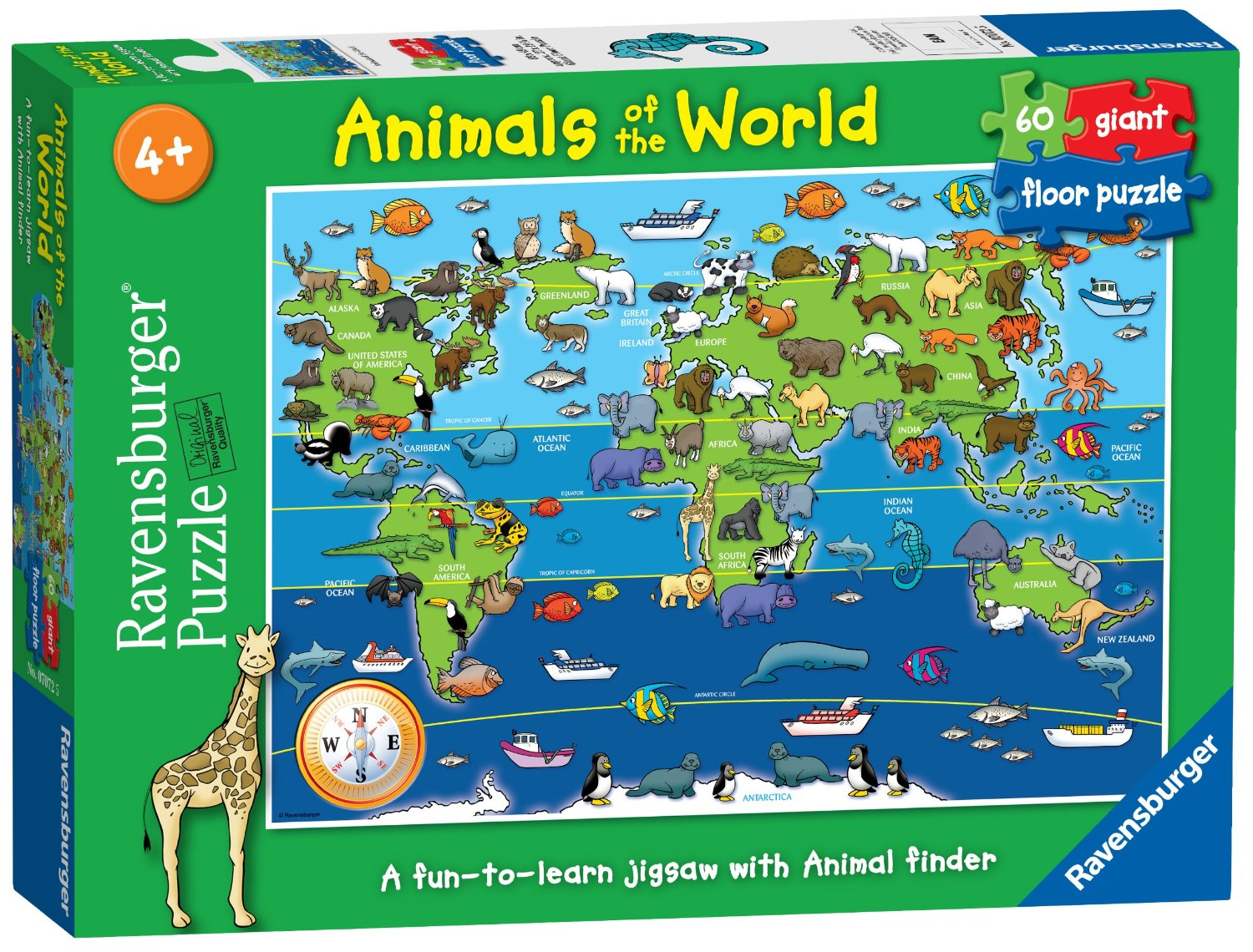 Ravensburger puzzle animals of the world giant floor puzzle 60 piece ravensburger puzzle animals of the world giant floor puzzle 60 piece jac in a box gumiabroncs
