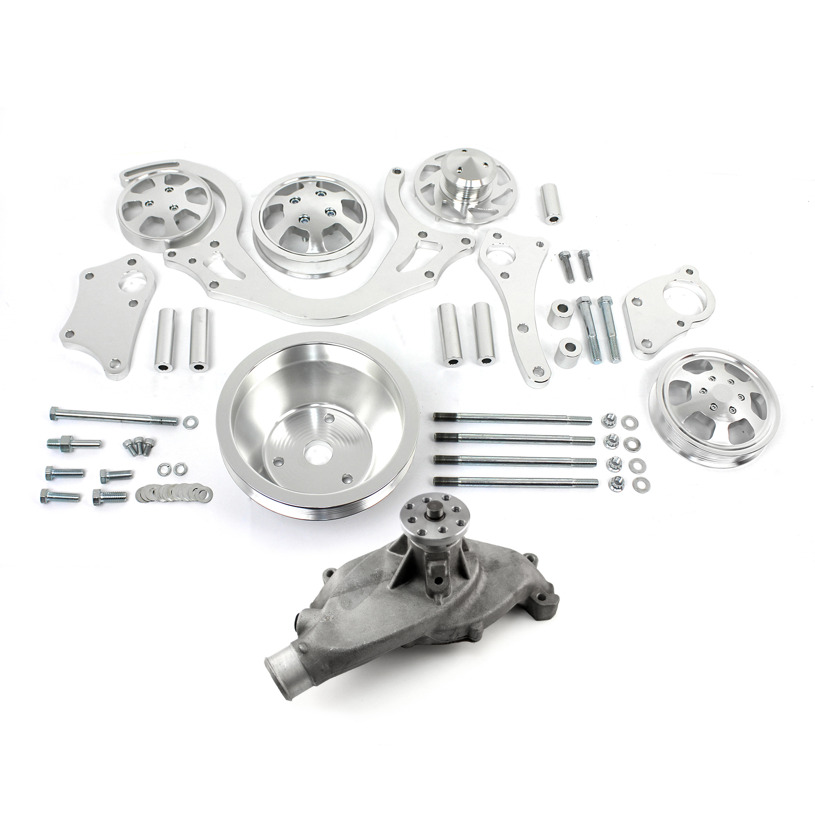 Serpentine Belt Pulley Groove Dimensions : Chevy bbc polished aluminum serpentine engine pulley short water pump kit