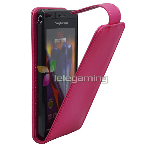 PINK-LEATHER-TOP-FLIP-POUCH-HARD-CASE-COVER-For-SONY-ERICSSON-XPERIA-ARC-S-X12