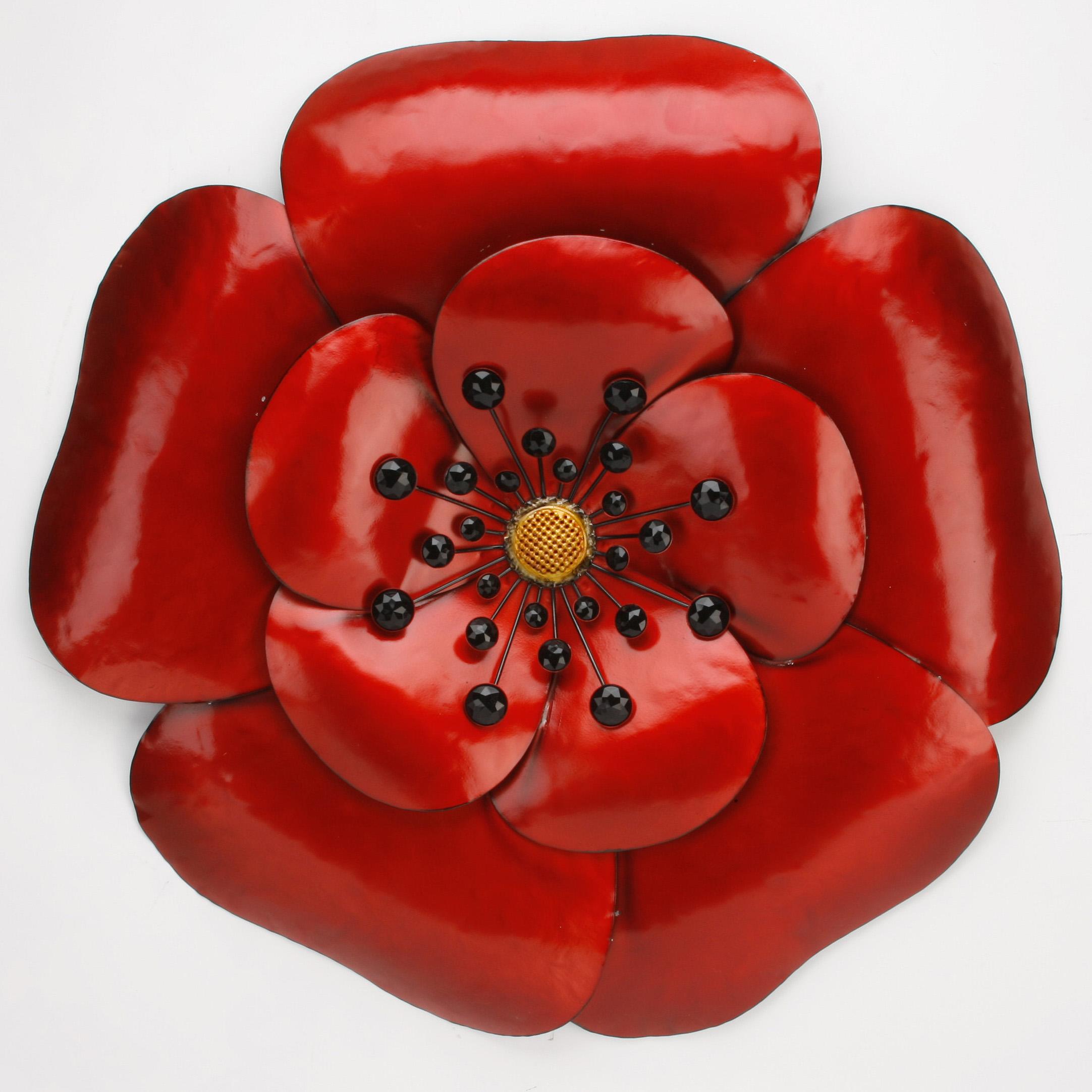 Juliana poppy red bloom metal wall art sculpture ebay for Red metal wall art
