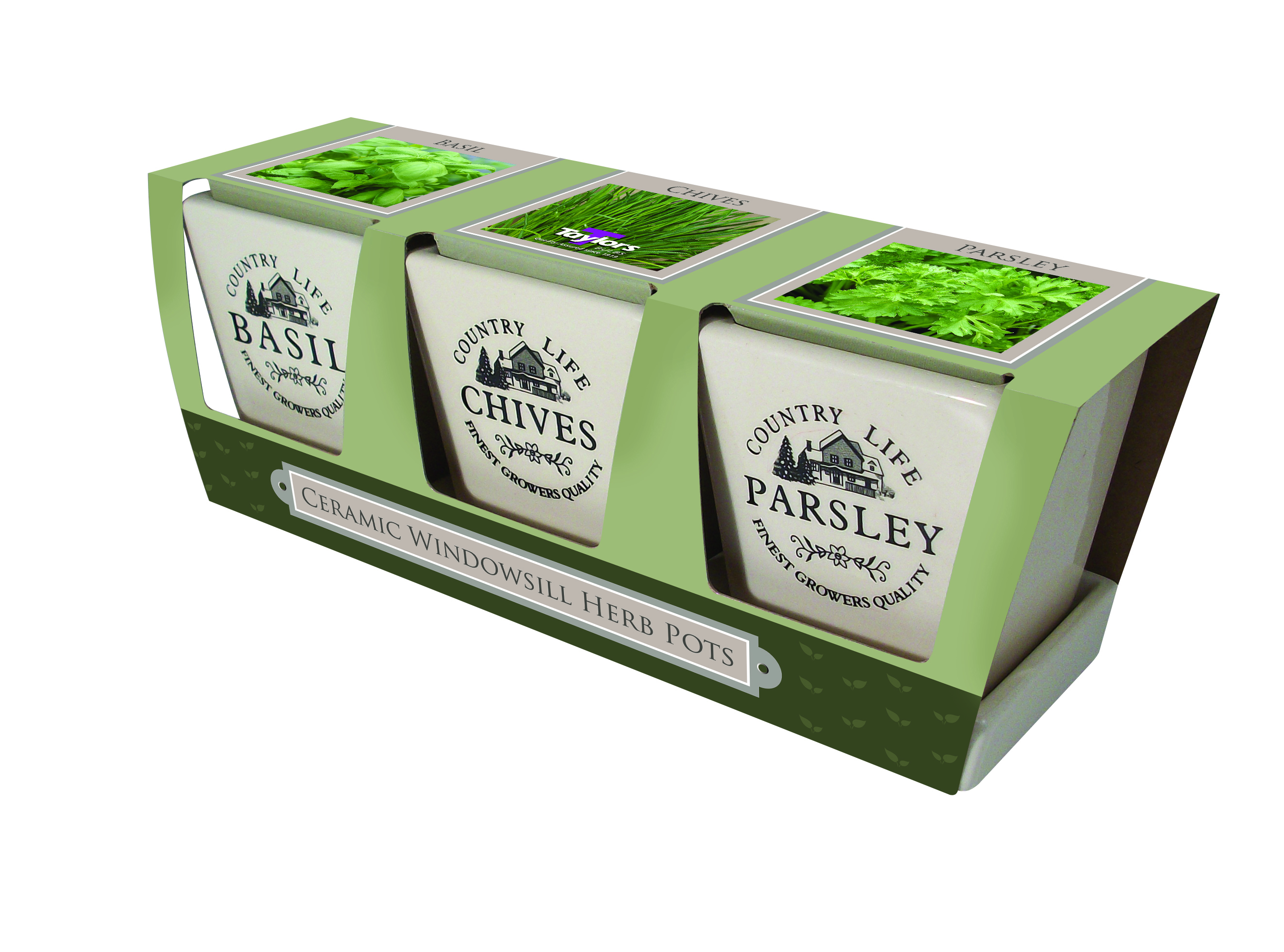 Taylors Ceramic Windowsill Herb Kit pots, compost \u0026 seeds parsley, chives, basil