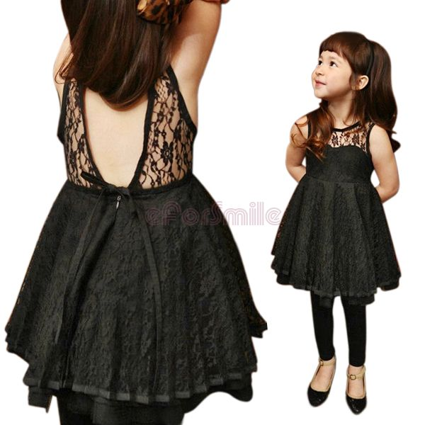 Girls Kids Lace Sleeveless Off-back Casual Dress Size 2-7 Years Clothes Costume