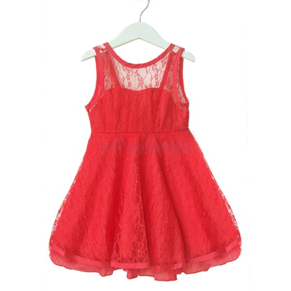 Girls Kids Lace Sleeveless Off-back Casual Dress Size 2-7 Years ...