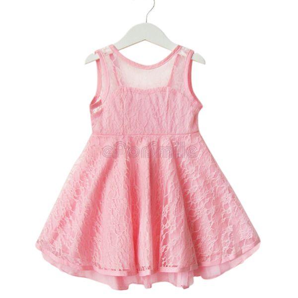 Girls Kids Lace Sleeveless Off-back Casual Dress Size 2-7 Years ...