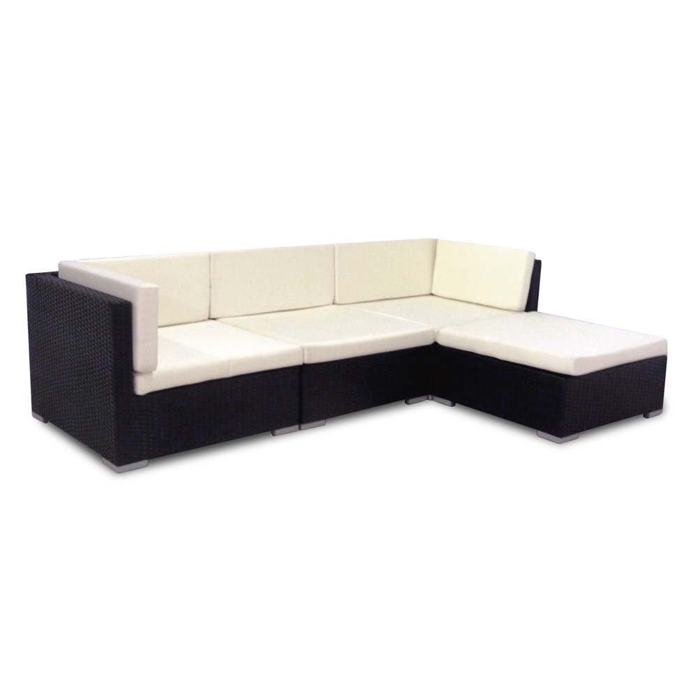 Corner sofa garden furniture outdoor rattan sofas for Black corner sofa