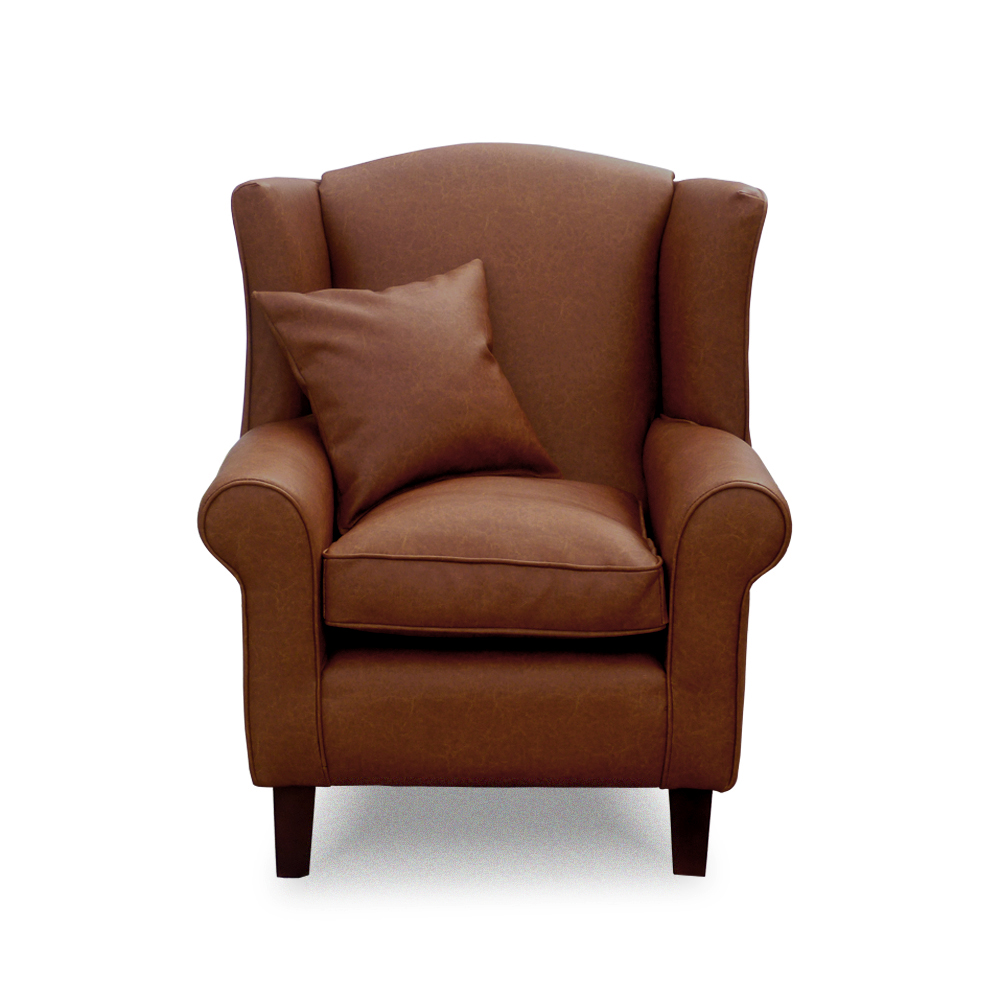 wing chair home furniture wing back chairs faux leather brown