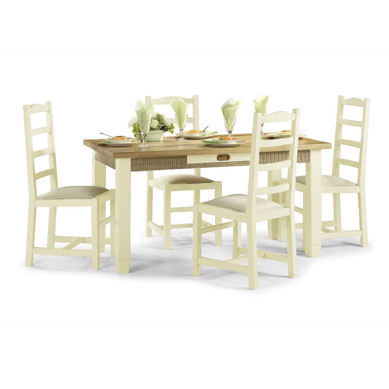 set french furniture dining room dinner set 4 chairs cream