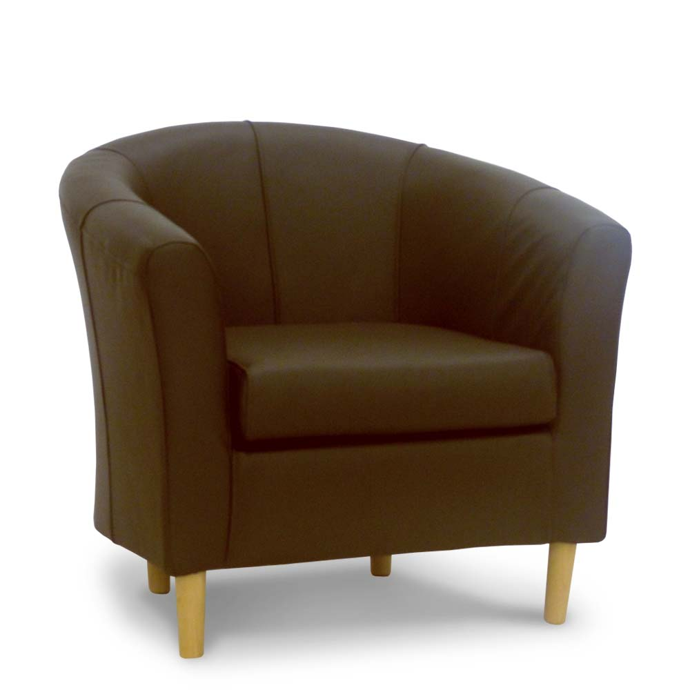Brown leather tub chair brown real leather chairs for Living room chairs