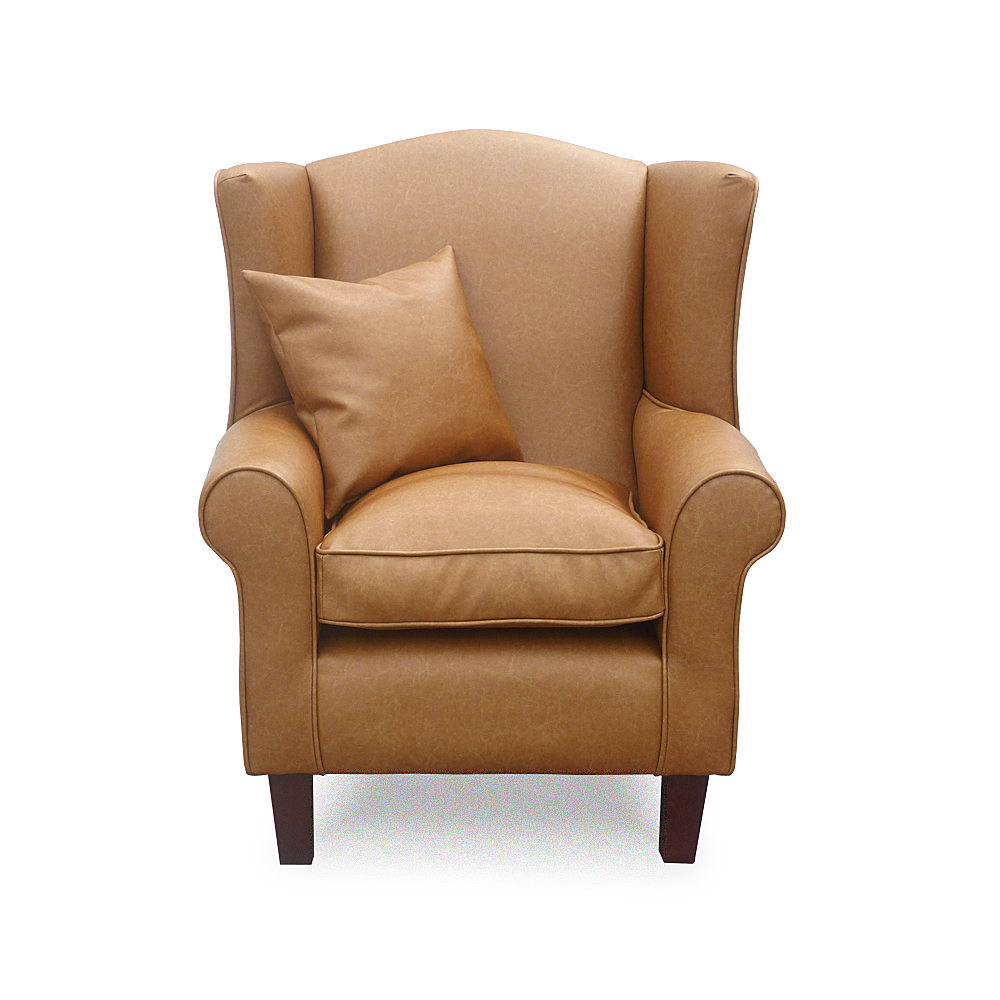 wing chair home furniture wing back chairs faux leather tan