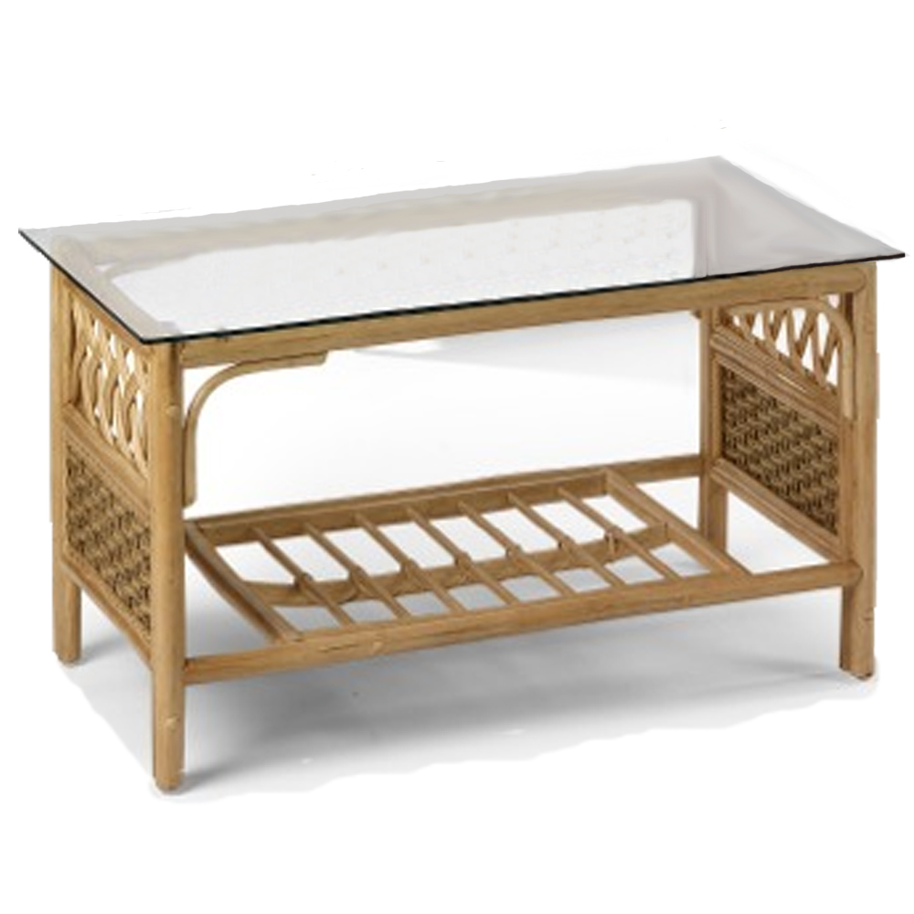 Cane Coffee Table Natural Glass Top Conservatory Furniture Wicker Flatpack Ebay