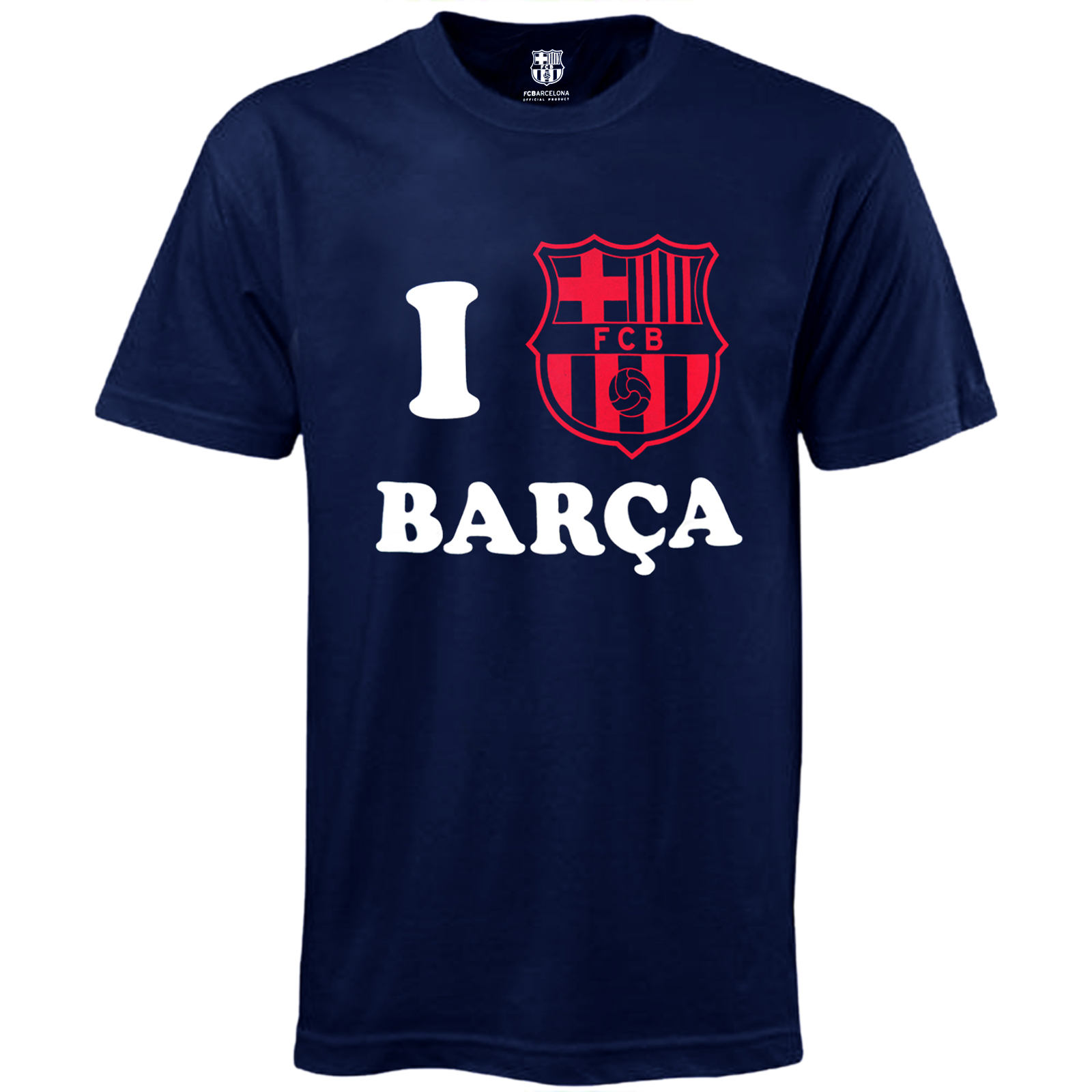 fc barcelona official football soccer gift 39 i love barca 39 mens t shirt navy. Black Bedroom Furniture Sets. Home Design Ideas