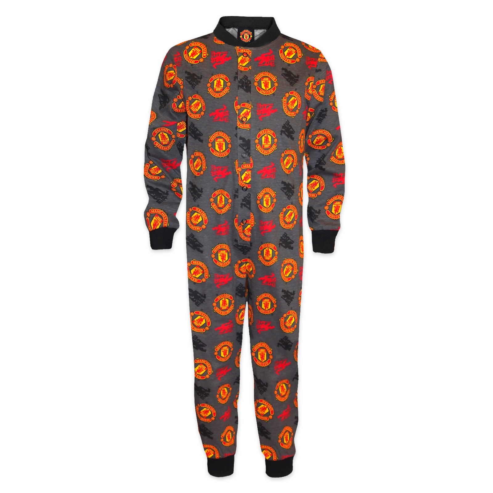 Manchester United FC Official Football Gift Boys Kids Pyjama All-In-One
