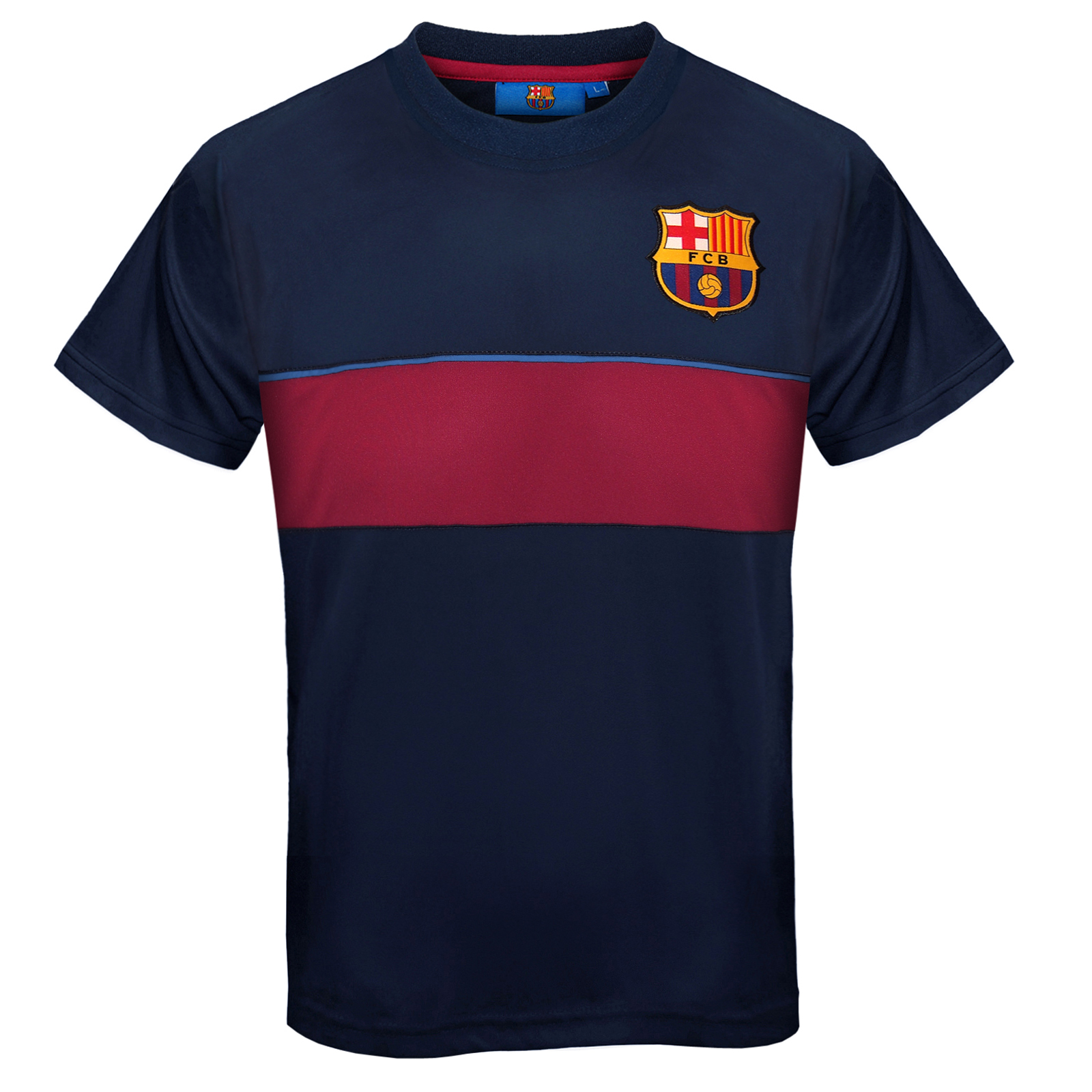 Fc barcelona official soccer gift boys poly training kit t for Boys soccer t shirts