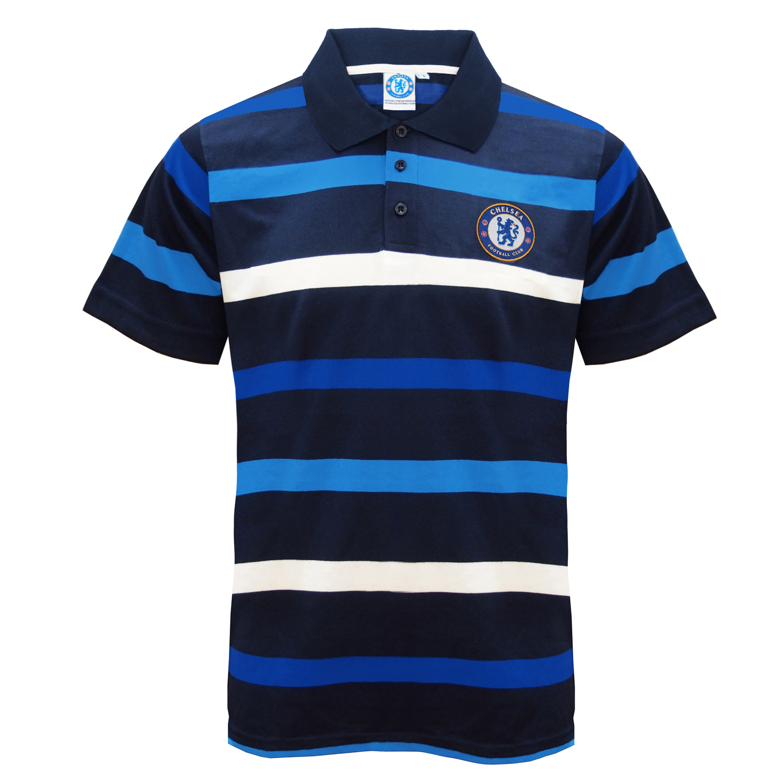 Chelsea fc official football gift mens striped polo shirt for Blue striped shirt mens
