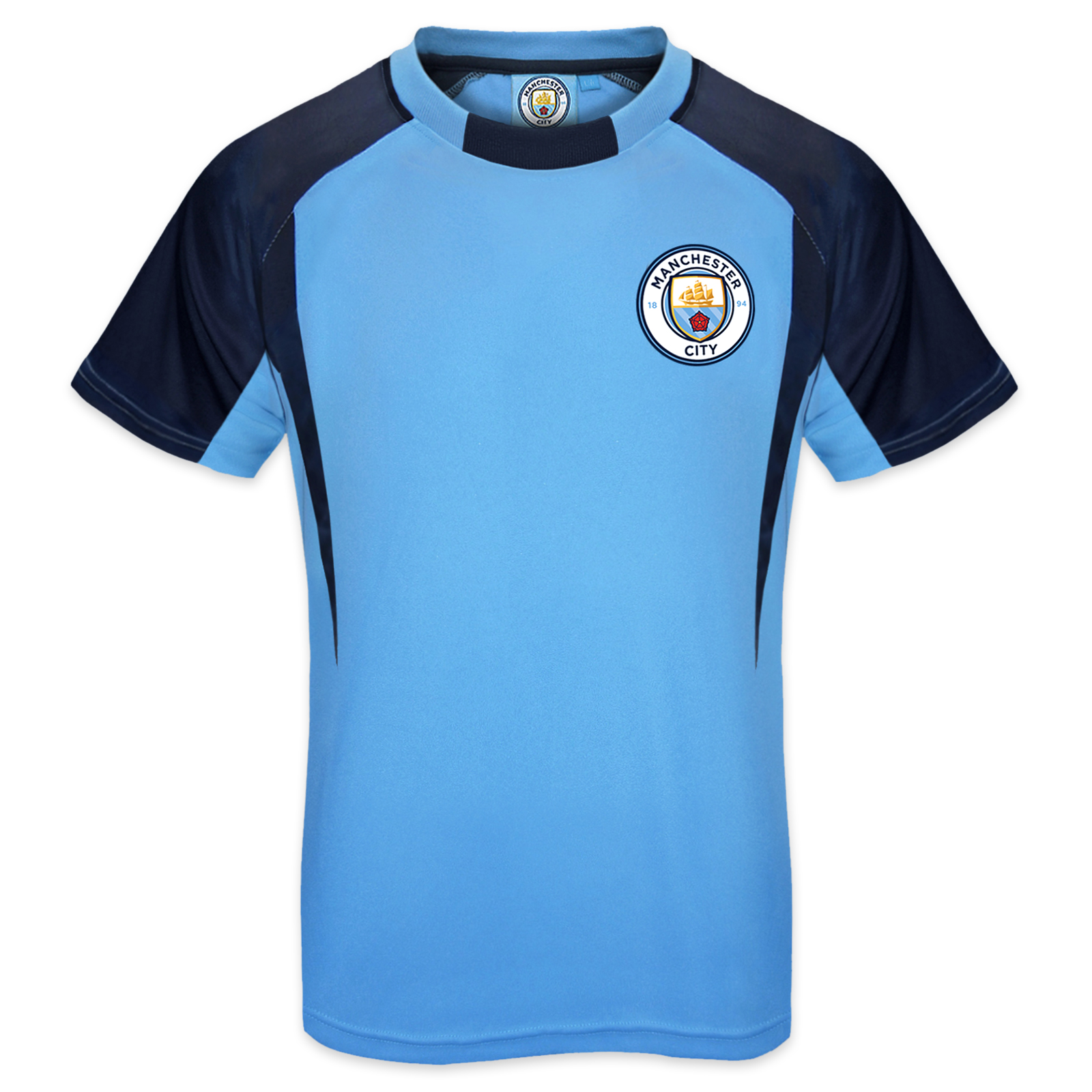 Manchester city fc official football gift boys poly for Boys soccer t shirts