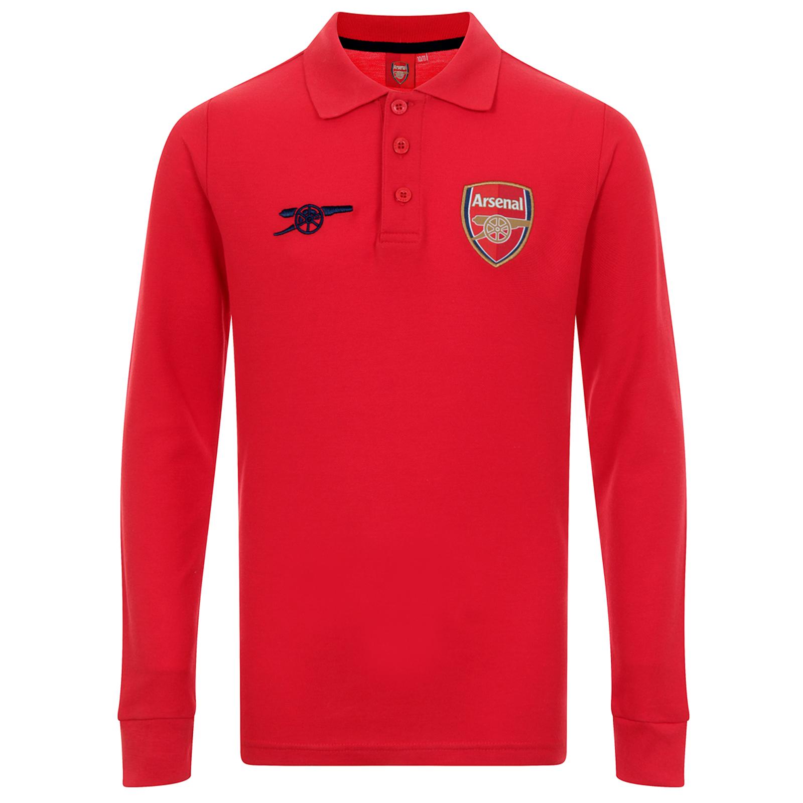 Arsenal fc official football gift boys long sleeve polo for Long sleeved polo shirts for boys