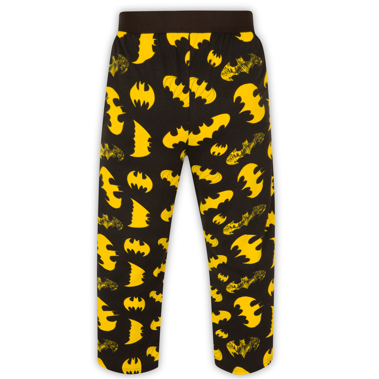 "The % cotton pajama set has pants that are light in color but covered in the bat symbol giving it a nice contrast and then there is the t-shirt top that is light gray in color and show the Batman logo but over it, you find the text ""Up All Night""."