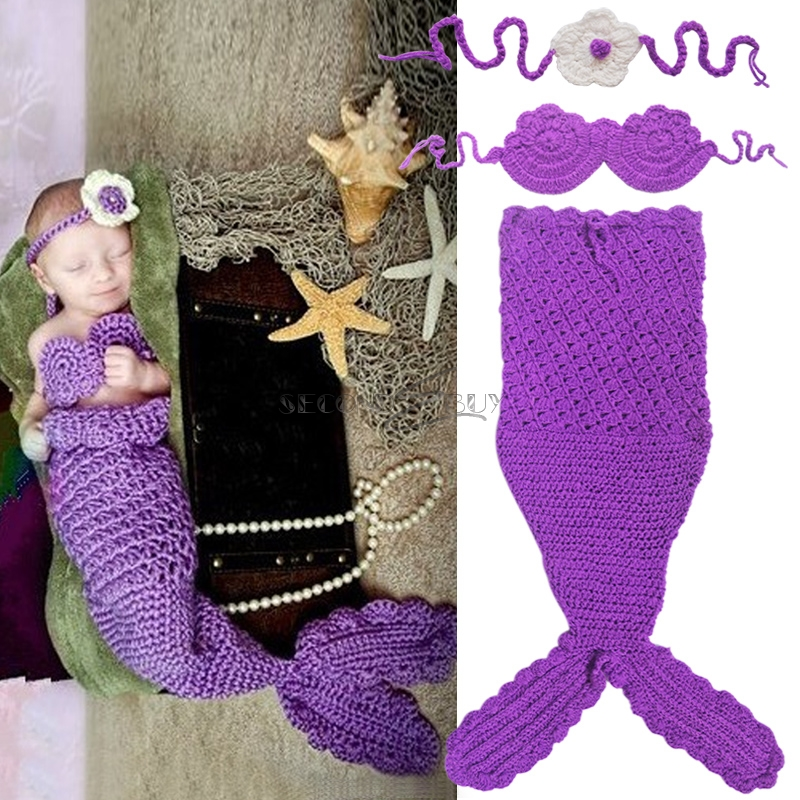 Crochet Pattern For Baby Mermaid Tail : Infant Baby Mermaid Crochet Knit Costume Outfit Headband ...
