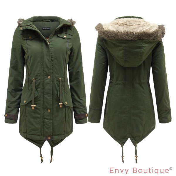 Ladies Womens Faux Fur Oversized Hood Fishtail Parka Jacket