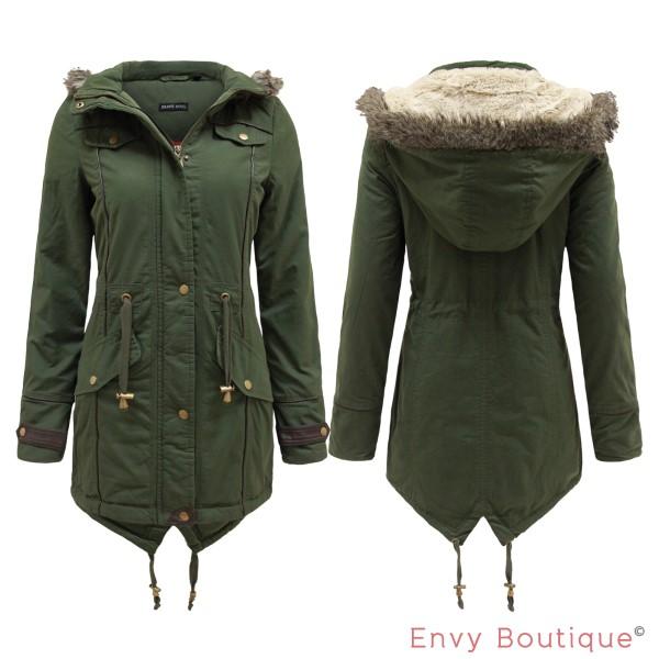 Ladies Womens Faux Fur Oversized Hood Fishtail Parka