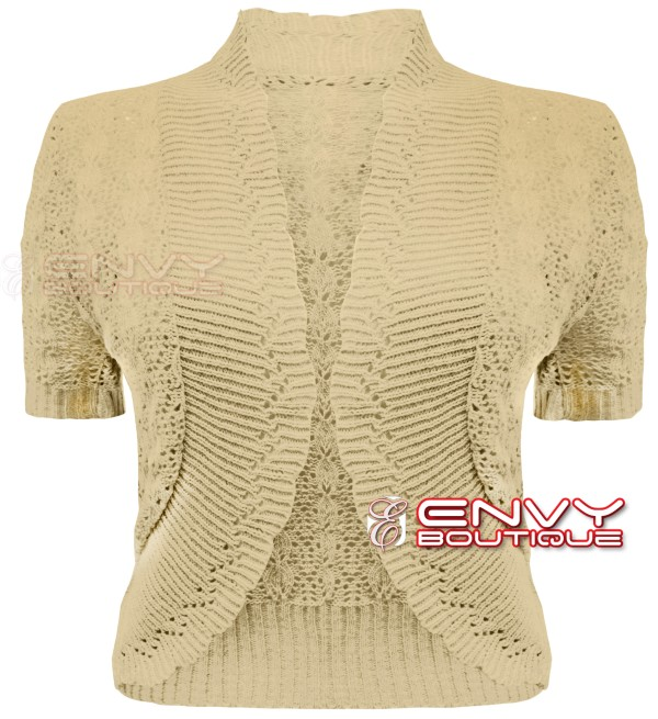 ... LADIES WOMENS KNITTED BOLERO SHRUG CROCHET KNIT CARDIGAN PLUS SIZES 16