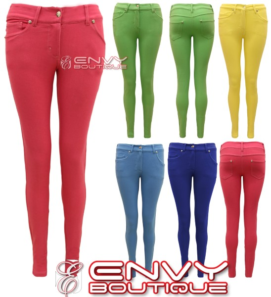 NEW-LADIES-SKINNY-FIT-COLOURED-STRETCH-JEANS-WOMENS-JEGGINGS-TROUSERS ...