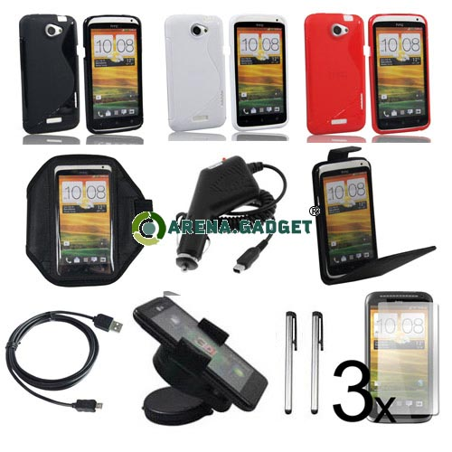 13-Zubehoer-Set-Hard-Tasche-Huelle-folie-KFZ-Halterung-Stylus-fuer-HTC-ONE-X