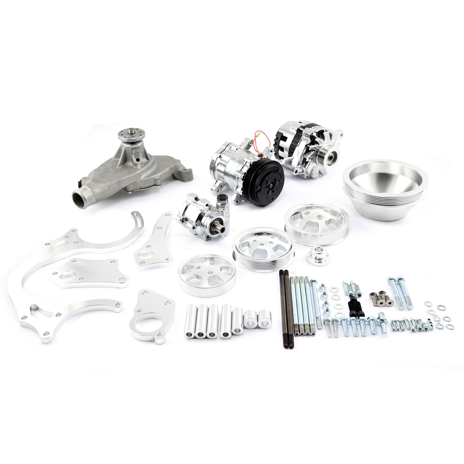 Serpentine Belt Pulley Groove Dimensions : Chevy bbc aluminum serpentine complete engine pulley components kit