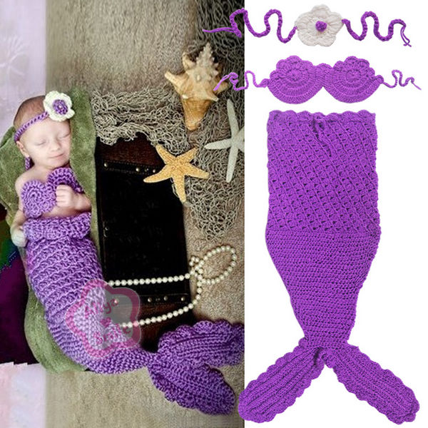 Knitting Pattern For Baby Mermaid Outfit : Newborn Coral Baby Headband Top Tail Mermaid Crochet Knit Costume SZ 0-12 Mon...