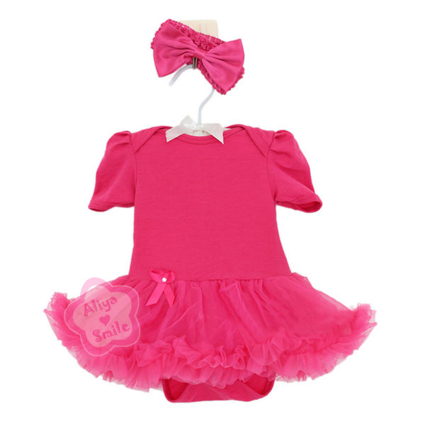 2PC Newborn Baby Girl Dress Infant Tutu Outfits Bow Headband ...