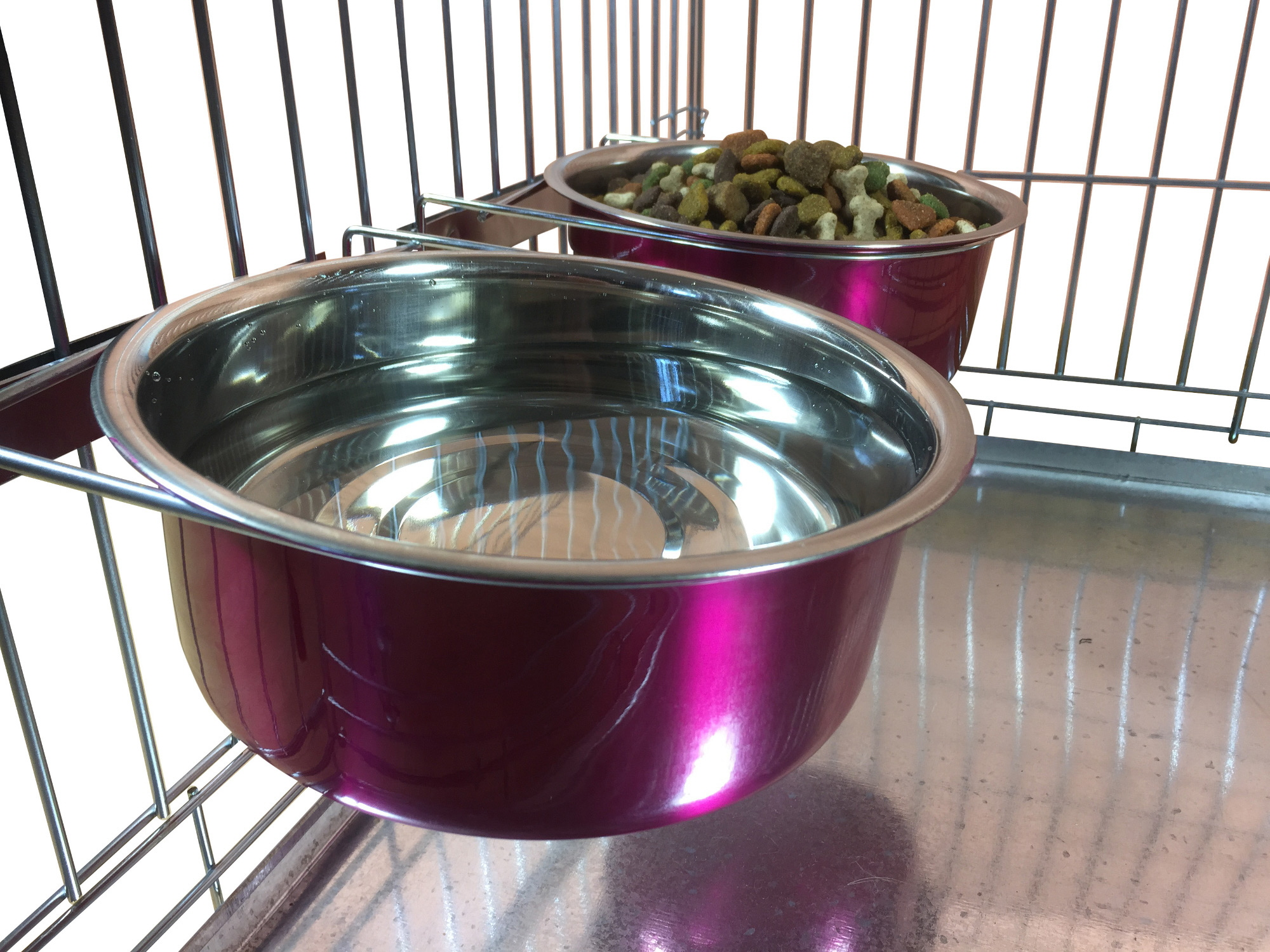 elliebo pair of dog bowls for cages crates or pens  blue  - elliebopairofdogbowlsforcages