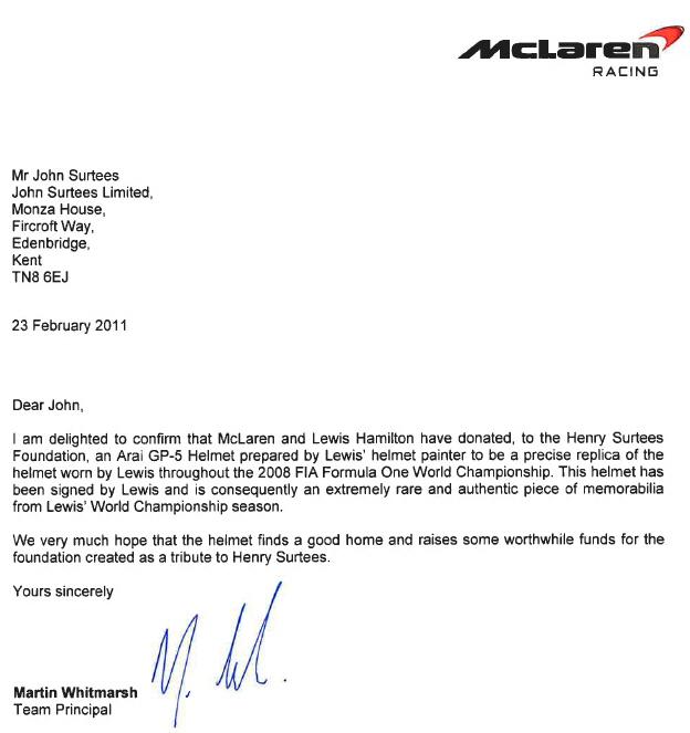 Signed Lewis Hamilton 1:1 Replica F1 Race Helmet HSFn
