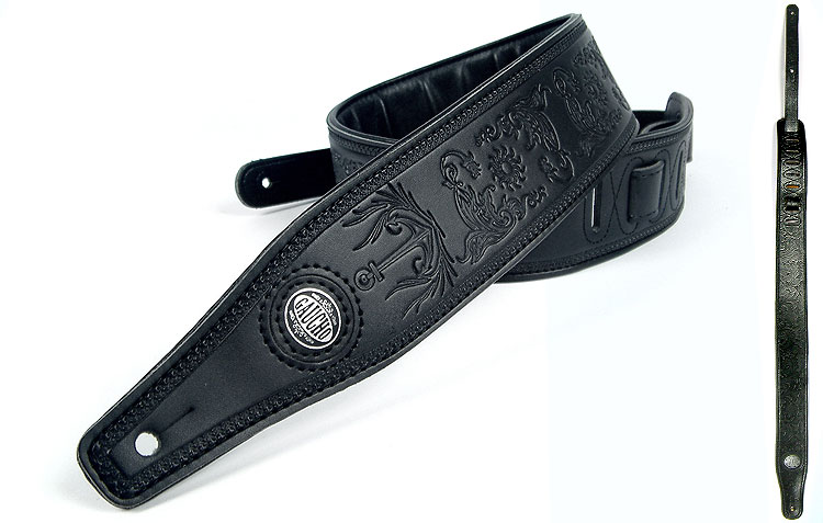 Black Embossed Leather Guitar Strap Electric/Acoustic 133cm