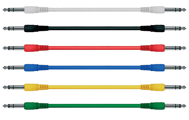 Guitar Patch Leads/Cables (6 pack, mixed colours): Mono/Stereo Straight/Angled