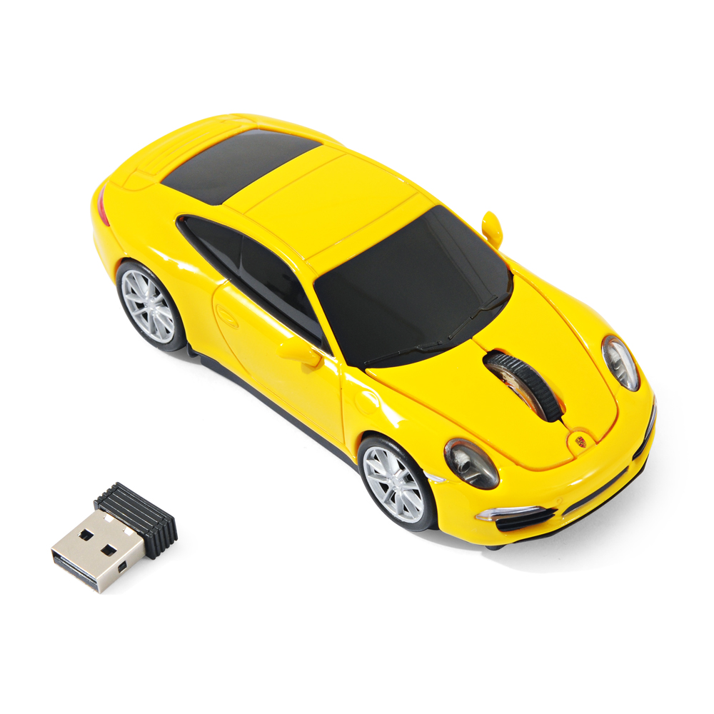 souris sans fil laser forme voiture porsche 911 991 carrera s jaune officiel. Black Bedroom Furniture Sets. Home Design Ideas